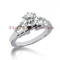 14K Gold Round and Baguette Diamond Engagement Ring Mounting 0.54ct