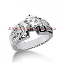 14K Gold Prong and Channel Set Diamond Engagement Ring Mounting 0.54ct