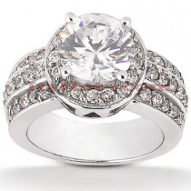 Halo 14K Gold Diamond Engagement Ring Mounting 0.56ct