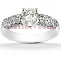 14K Gold Diamond Engagement Ring Mounting 0.58ct Handcrafted