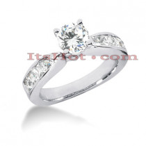 14K Gold Prong and Channel Set Diamond Engagement Ring Mounting 0.58ct