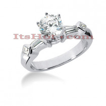 14K Gold Baguette and Princess Cut Diamond Engagement Ring Mounting 0.60ct