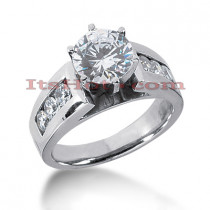 14K Gold Prong and Channel Set Diamond Engagement Ring Mounting 0.60ct