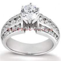 Prong and Channel Set 14K Gold Diamond Engagement Ring Mounting 0.60ct