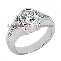 14K Gold Bezel and Channel Set Diamond Engagement Ring Mounting 0.60ct