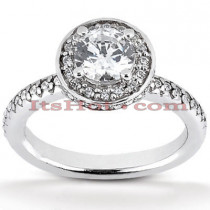Halo 14K Gold Diamond Engagement Ring Mounting 0.61ct