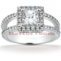 Halo 14K Gold Diamond Engagement Ring Mounting 0.64ct