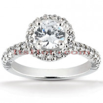 Halo 14K Gold Diamond Engagement Ring Mounting 0.69ct