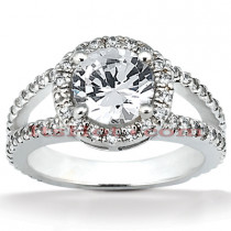 Halo 14K Gold Diamond Engagement Ring Mounting 0.70ct