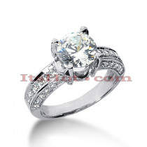 14K Gold Diamond Engagement Ring Mounting 0.73ct