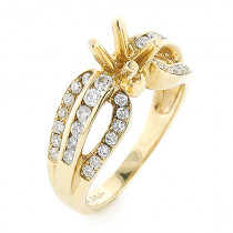 14K Gold Diamond Engagement Ring Mounting 0.8ct