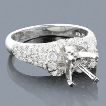 14K Gold Diamond Engagement Ring Mounting 1.51ct