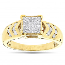 14K Gold Diamond Engagement Ring Princess & Round 0.80