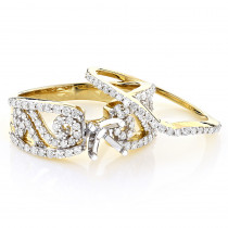 14K Gold Diamond Engagement Ring Set 0.93ct