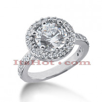 Halo 14K Gold Diamond Engagement Ring Setting 0.54ct