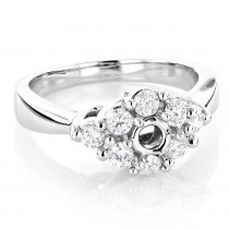 Halo 14K Gold Diamond Engagement Ring Setting 0.78ct