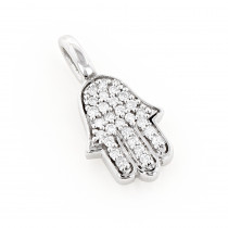 14k Gold Diamond Hamsa Hand Necklace 0.14ct