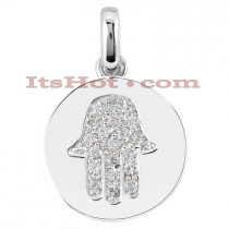 14K Gold Diamond Hamsa Hand Pendant 0.20ct