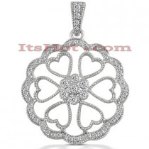 14K Gold Diamond Heart Pendant 0.82ct