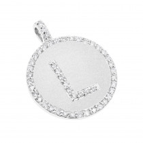 14K Gold Diamond Initial Pendant 0.53ct