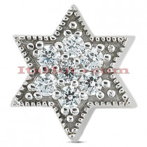 14K Gold Diamond Jewish Star Pendant 0.07ct