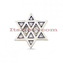 14K Gold Diamond Jewish Star Pendant 0.16ct