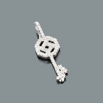 14K Gold Diamond Key Pendant 0.17ct