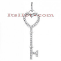 14K Gold Diamond Key Pendant 0.29ct