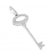 14K Gold Diamond Key Pendant 0.25ct