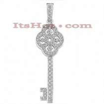 14K Gold Diamond Key Pendant 0.45ct