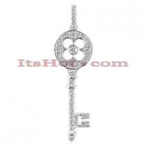 14K Gold Diamond Key Pendant 0.68ct