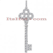 14K Gold Diamond Key Pendant 0.79ct