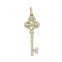 14K Gold Diamond Key Pendant 0.83ct
