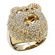 14k Gold Diamond Lion Head Ring For Men by Luxurman 3 Carat Diamonds