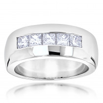 Five Stone 14K Gold Diamond Mens Wedding Ring 1.5ct