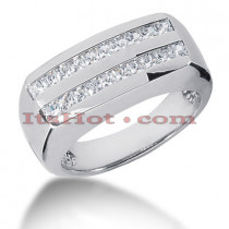 14K Gold Diamond Men's Wedding Ring 1ct