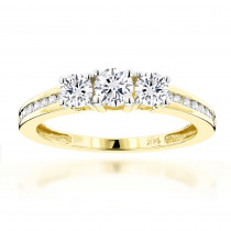 14K Gold Diamond Past Present Future Engagement Ring 0.7ct