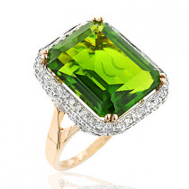 14K Gold Diamond Peridot Quartz Cocktail Ring 13ct