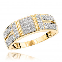 14K Gold Diamond Ring w Round Princess Diamonds 0.85ct
