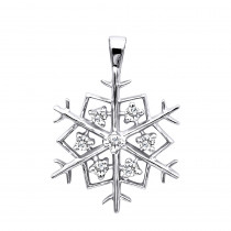Real 14K Gold Diamond Snowflake Pendant For Women 0.21ct