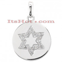 14K Gold Diamond Star of David Pendant 0.54ct
