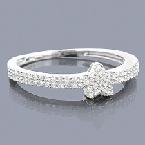 Thin 14K Gold Diamond Star Ring 0.29ct