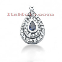 14K Gold Diamond Tear Drop Pendant 0.87ct