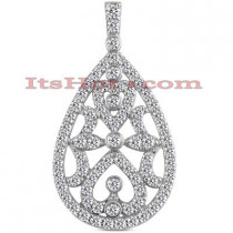 14K Gold Diamond Tear Drop Pendant 1.14ct