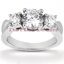 14K Gold Diamond Three Stone Engagement Ring 0.80ct