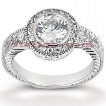 14K Gold Diamond Unique Engagement Ring 0.76ct