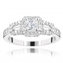 14K Gold Diamond Unique Engagement Ring by Luxurman 0.94ct