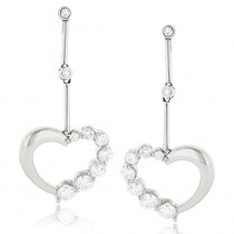 14k Gold Diamond Womens Heart Earrings 1.1 ctw.