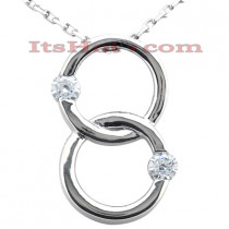 14K Gold Double Circle Diamond Pendant 0.30ct