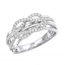 14K Gold Double Knot Love Diamond Ring for Women 0.27ct by Luxurman